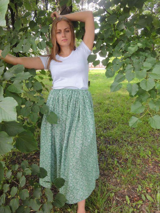"""Юбки ручной работы. Ярмарка Мастеров - ручная работа. Купить Юбка  из хлопка зеленая """"Огурцы"""". Handmade. Комбинированный, юбка для дома"""