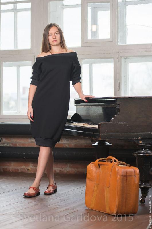 Платья ручной работы. Ярмарка Мастеров - ручная работа. Купить Уютное теплое платье 2U Black. Handmade. Черный, небо
