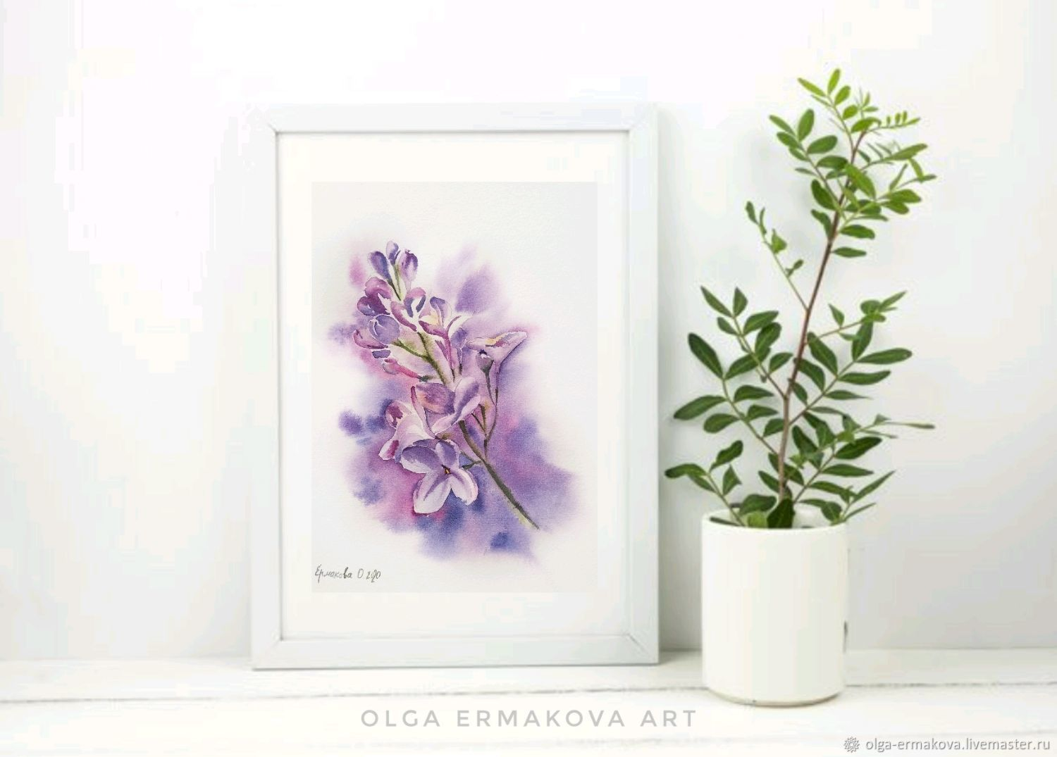 Lilac painting a small twig in the interior in the style of Provence purple, Pictures, Moscow,  Фото №1