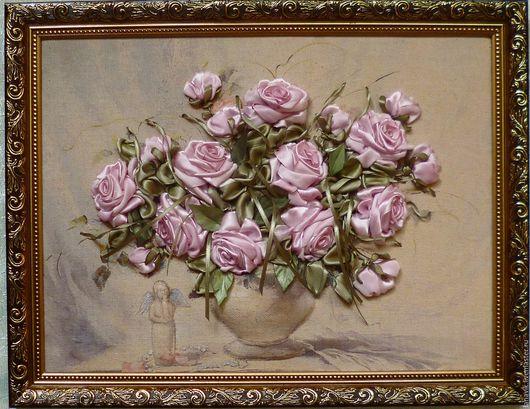 Картины цветов ручной работы. Ярмарка Мастеров - ручная работа. Купить Винтажные розы. Handmade. Комбинированный, подарок женщине
