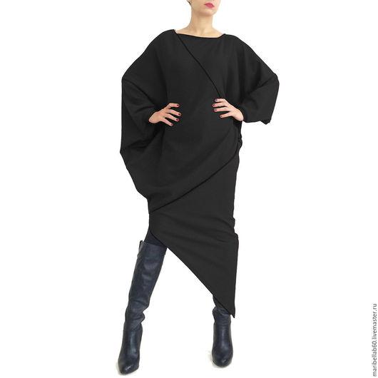 Платья ручной работы. Ярмарка Мастеров - ручная работа. Купить Черное асимметричный свитер платье в пол RALICA. Handmade.