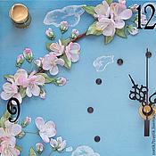 Для дома и интерьера handmade. Livemaster - original item Embroidered clock with an apple tree branch Spring blossom. Handmade.