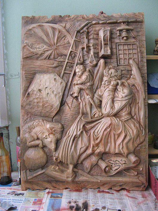Люди, ручной работы. Ярмарка Мастеров - ручная работа. Купить резная картина из дерева(ольха)ангелы на земле. Handmade. Коричневый, продажа