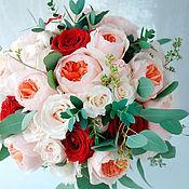 Свадебный салон ручной работы. Ярмарка Мастеров - ручная работа Свадебный букет невесты из живых цветов Бордово-персиковый. Handmade.