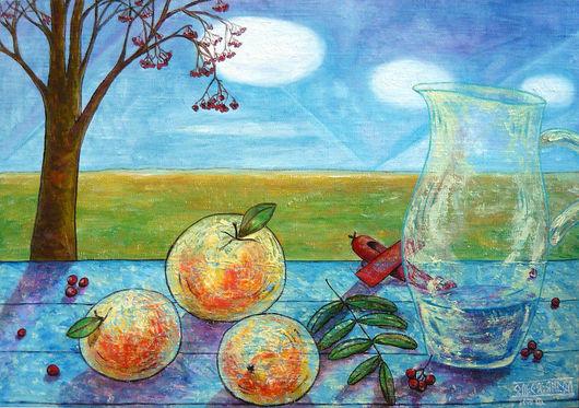 """Натюрморт ручной работы. Ярмарка Мастеров - ручная работа. Купить """"Осень красными самолетами..."""". Handmade. Яблоки рябина самолет"""