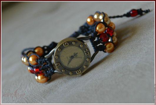 Часы ручной работы. Ярмарка Мастеров - ручная работа. Купить Часики с плетеным браслетом.. Handmade. Коричневый, часы ручной работы