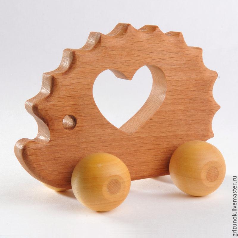 """Игрушки животные, ручной работы. Ярмарка Мастеров - ручная работа. Купить Каталка """"Ёжик"""". Handmade. Ежик, деревянная машинка"""