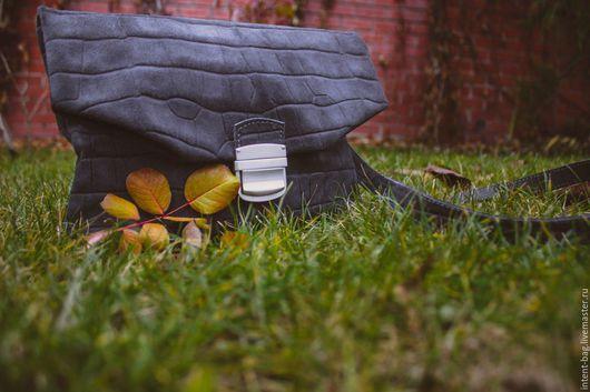 Женские сумки ручной работы. Ярмарка Мастеров - ручная работа. Купить С001. Handmade. Серый, замшевая сумка, кожа натуральная