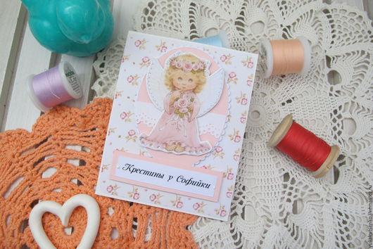 """Пригласительные ручной работы. Ярмарка Мастеров - ручная работа. Купить Приглашение на крестины или день рождения """"Ангелок"""". Handmade."""