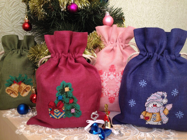 Мешочки для подарков новогодние подарки 21