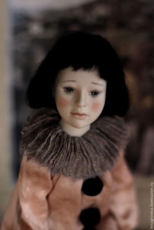 Коллекционные куклы ручной работы. Ярмарка Мастеров - ручная работа. Купить Фарфоровая авторская кукла Пьеро. Handmade. Кремовый