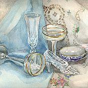 Картины и панно ручной работы. Ярмарка Мастеров - ручная работа Акварельная картина Хрусталь, 32х24. Handmade.