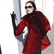 Одежда ручной работы. Ярмарка Мастеров - ручная работа Бордовое короткое пальто тюльпан. Handmade.