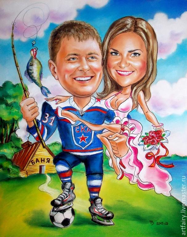Cartoon portrait with a story `Fun fishing` 40h50 smluv handmade Fun Cartoon portrait for the romantic Cartoon custom wedding Gift is a Family portrait Gift for a wedding anniversary