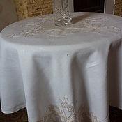 старая льняная скатерть - мозаичная вышивка- ирисы- Италия