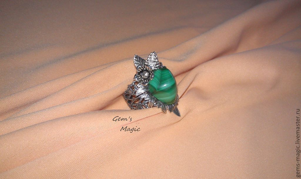 Ring 'the Stone flower'-malachite, Rings, Moscow,  Фото №1