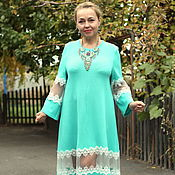 "Одежда handmade. Livemaster - original item Knitted dress ""Lace smooth""MIDI cozy cotton mint. Handmade."