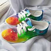 Обувь ручной работы. Ярмарка Мастеров - ручная работа Кеды женские летние дизайнерские с рисунком на заказ разноцветные. Handmade.