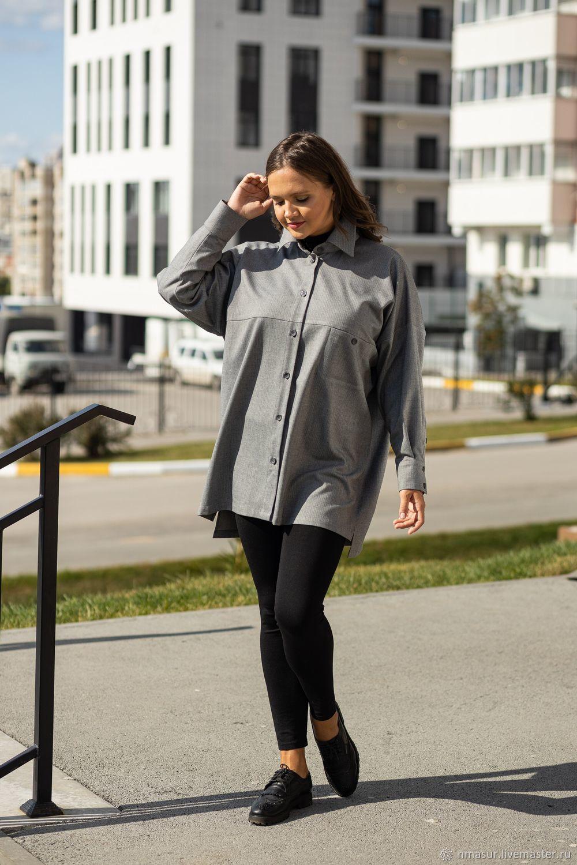 Рубашка в мужском стиле  размер oversize в елочку серая, Блузки, Новосибирск, Фото №1