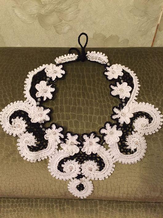 Воротнички ручной работы. Ярмарка Мастеров - ручная работа. Купить Воротник бело-черный, выполненный в технике ирландское кружево.. Handmade.
