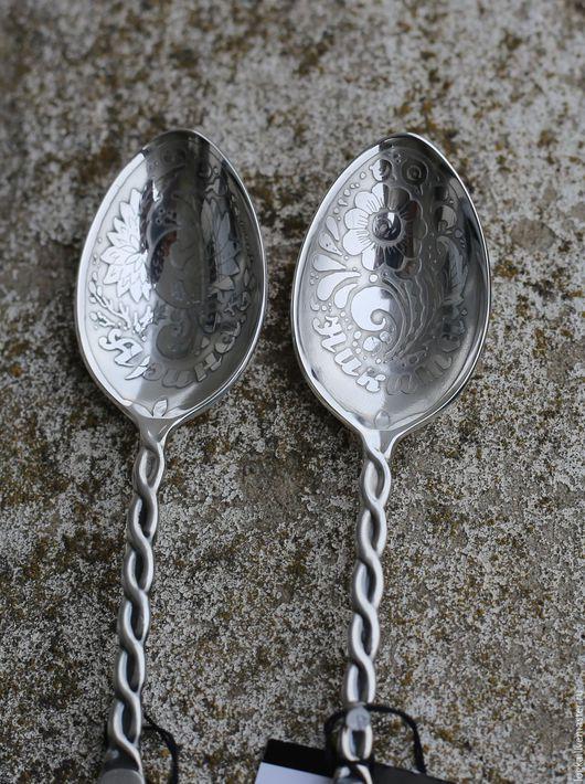Ложки ручной работы. Ярмарка Мастеров - ручная работа. Купить ложка серебряная именная 925 пробы (на зубок ). Handmade.