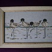 """Картины и панно ручной работы. Ярмарка Мастеров - ручная работа Вышитая картина """"Морской пейзаж с птицами"""". Handmade."""