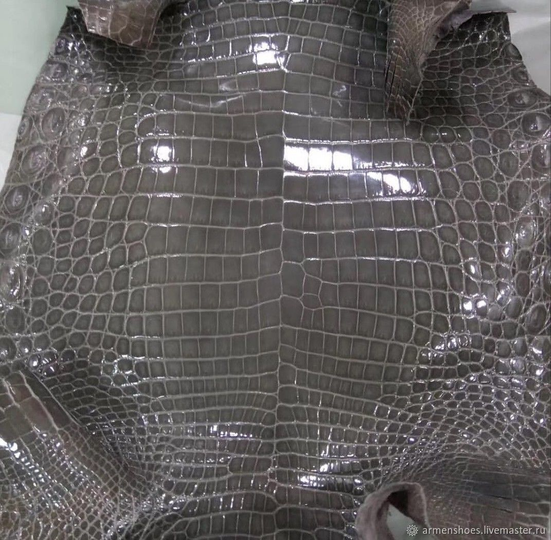 Crocodile leather, dark grey, glossy finish, custom made!, Leather, Tosno,  Фото №1