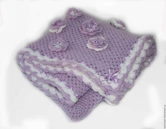 """Для новорожденных, ручной работы. Ярмарка Мастеров - ручная работа. Купить Детский плед (легкое одеяло) """"Нежная сирень"""" светло - фиолетовое. Handmade."""