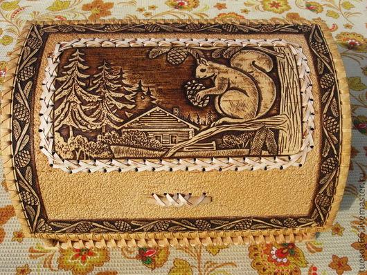 """Кухня ручной работы. Ярмарка Мастеров - ручная работа. Купить Хлебница из бересты """"Бельчонок"""". Handmade. Хлебница, большая хлебница, береста"""