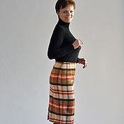 Одежда handmade. Livemaster - original item Skirt winter plaid overcoat fabric. Handmade.