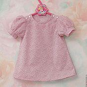 Блузка с розовым горошком для девочки из хлопка с рукавами-фонариками