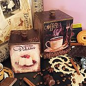 Для дома и интерьера ручной работы. Ярмарка Мастеров - ручная работа Кофемания, набор коробов для кофе, чая, декупаж. Handmade.