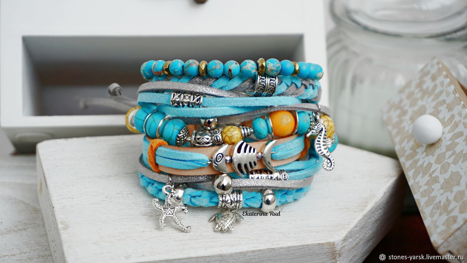 Boho-chic suede and stone bracelet 'In the lagoon', Bead bracelet, Moscow,  Фото №1
