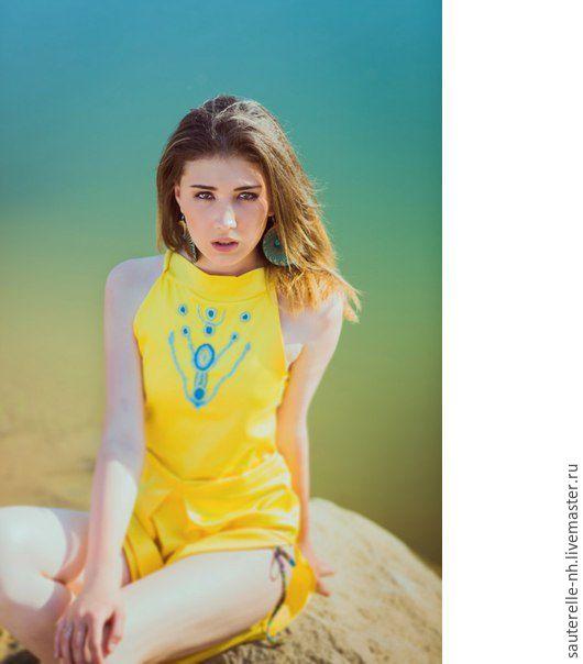 """Платья ручной работы. Ярмарка Мастеров - ручная работа. Купить Платье """"Африка"""". Handmade. Желтый, желтый синий, пляжный сарафан"""