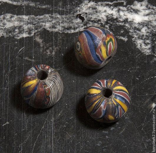 Для украшений ручной работы. Ярмарка Мастеров - ручная работа. Купить Пестрые мозаичные крупные стеклянные бусины диаметром 20 мм. Handmade.