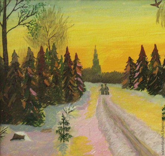 """Пейзаж ручной работы. Ярмарка Мастеров - ручная работа. Купить картина """"Путь к храму"""" (коричневый, оранжевый). Handmade. Бледно-сиреневый"""