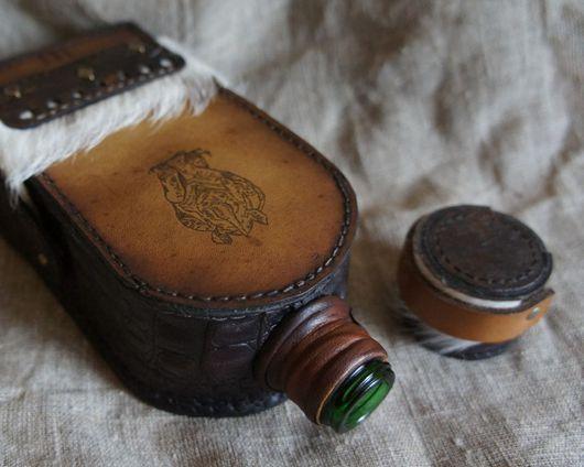 Подарочное оформление бутылок ручной работы. Ярмарка Мастеров - ручная работа. Купить Фляга Носорог. Handmade. Коричневый, чепрак