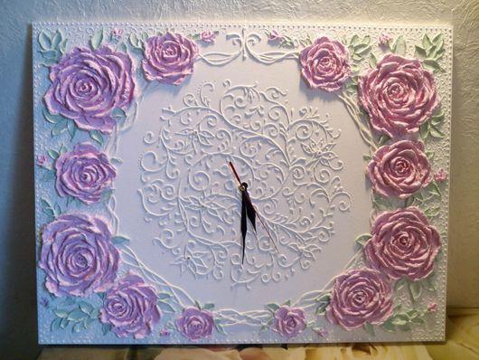 Часы для дома ручной работы. Ярмарка Мастеров - ручная работа. Купить Часы. Handmade. Рельеф, рощы, Декоративная штукатурка