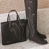 """Обувь ручной работы. Ярмарка Мастеров - ручная работа Комплект ботфорты и сумка из войлока """"Горький шоколад"""". Handmade."""