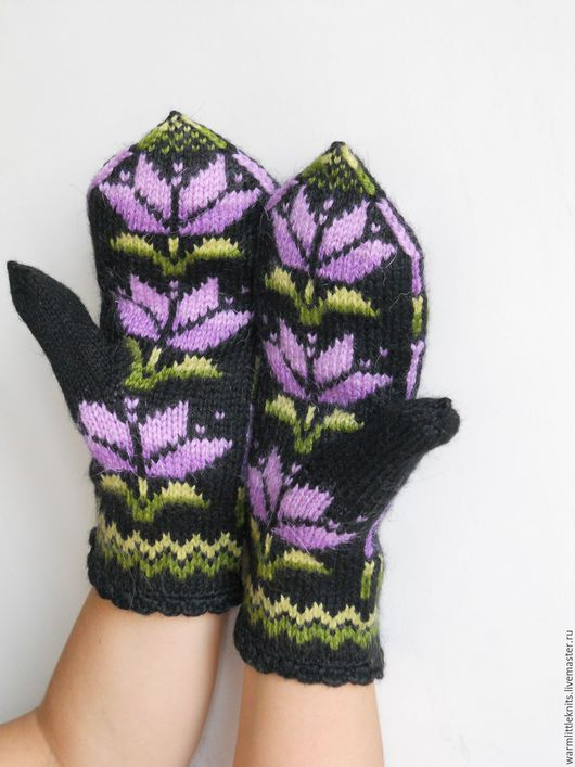 Варежки, митенки, перчатки ручной работы. Ярмарка Мастеров - ручная работа. Купить Варежки вязаные Крокус. Handmade. Комбинированный