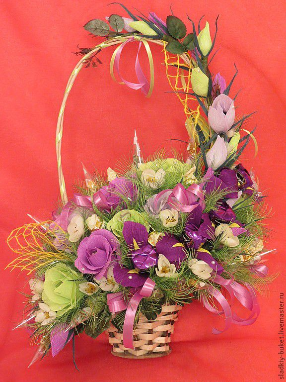 Цветы и корзины из гофробумаги, цветы