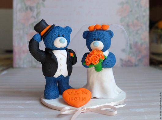 Свадебные аксессуары ручной работы. Ярмарка Мастеров - ручная работа. Купить Фигурки Мишки на свадебный торт. Handmade. Синий