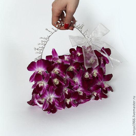 Свадебные цветы ручной работы. Ярмарка Мастеров - ручная работа. Купить Букет невесты сумочка из орхидей. Handmade. Фуксия, свадьба