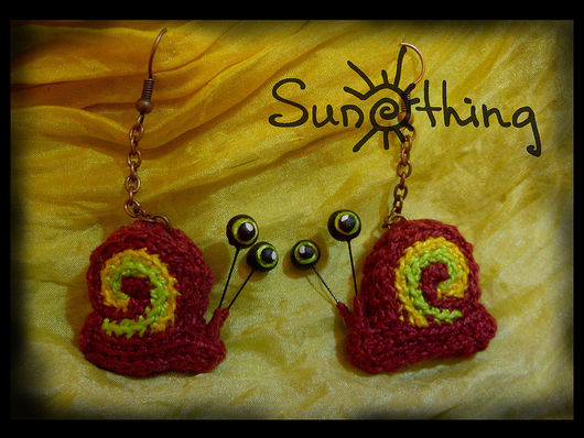Earrings handmade. Livemaster - handmade. Buy Earring 'Snail'.Snail, earrings, crocheted earrings, crochet, more earrings, unusual earrings