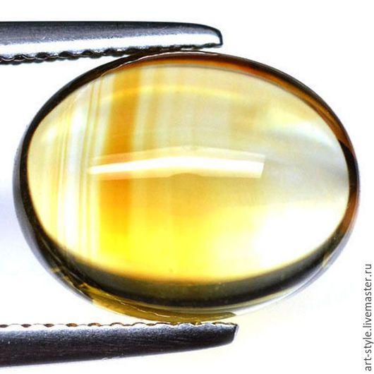 Для украшений ручной работы. Ярмарка Мастеров - ручная работа. Купить Цитрин натуральный, кабошон овал, 6.88 карат.. Handmade.