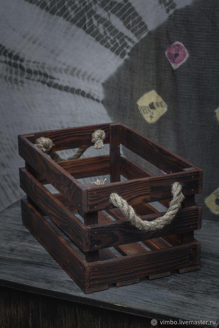 Корзины, коробы ручной работы. Ярмарка Мастеров - ручная работа. Купить Ящик деревянный с ручками. Handmade. Коричневый, Декор
