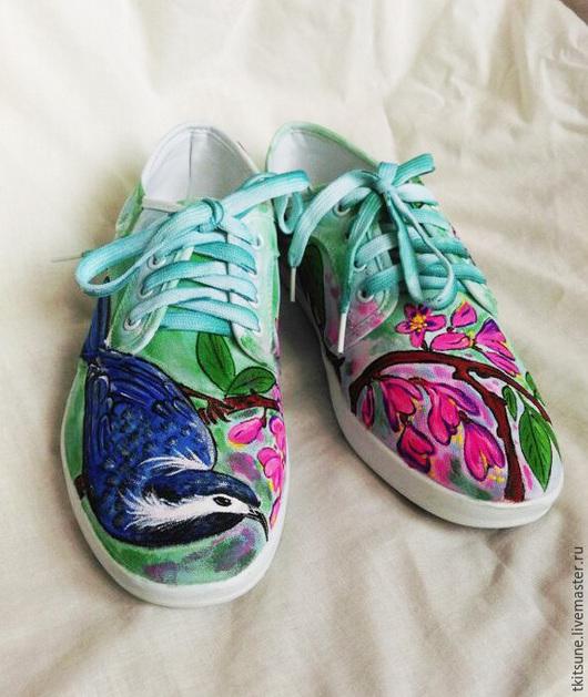 """Обувь ручной работы. Ярмарка Мастеров - ручная работа. Купить Кеды низкие с птицами и цветами """"Весна"""". Handmade. Разноцветный, текстиль"""