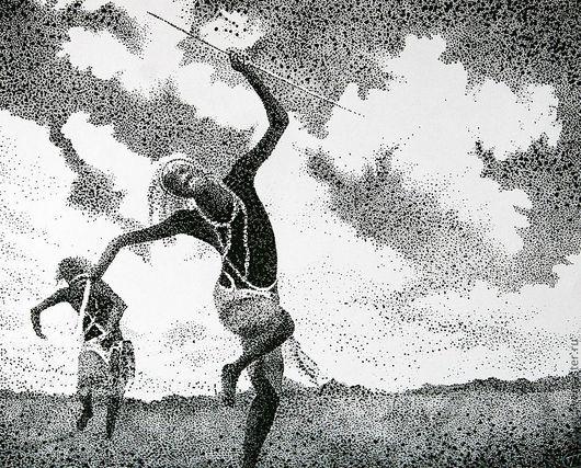 Этно ручной работы. Ярмарка Мастеров - ручная работа. Купить сны об Африке. Handmade. Черный, графика, африка