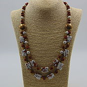 Украшения handmade. Livemaster - original item Necklace made of natural stones of aventurine and howlite. Handmade.
