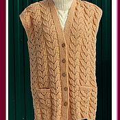 Одежда ручной работы. Ярмарка Мастеров - ручная работа Женский вязаный жилет большого размера. Handmade.